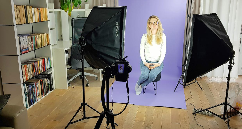 Ustawienie lamp typu softbox do portretu