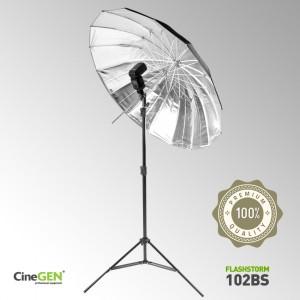 Zestaw oświetleniowy z parasolką srebrną 105cm