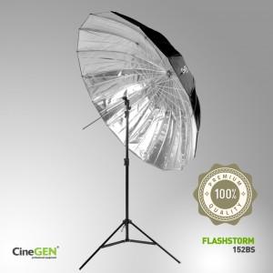 Zestaw oświetleniowy z parasolką srebrną 150cm