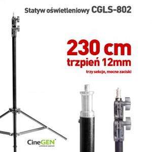 Statyw oświetleniowy CineGEN® CGLS-802, 230 cm, głowica 16mm