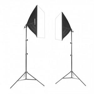 Zestaw 2 lamp światła stałego SOFTBOX 40x40cm 65W 230cm
