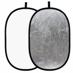 Blenda 2w1 biało-srebrna, owalna 100x150 cm
