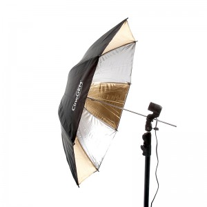 Parasolka dwuwarstwowa, reflektor srebrno-złoty, 84cm