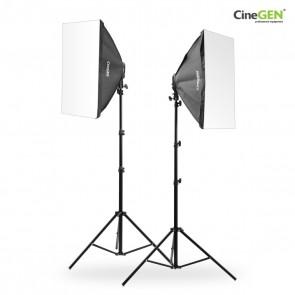 Zestaw 2 lamp światła stałego SOFTBOX 50x50cm 65W 230cm