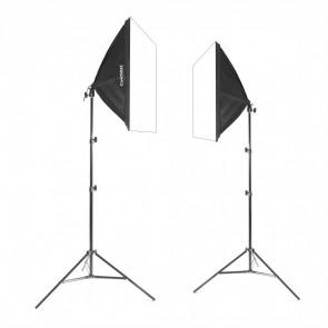 Zestaw 2 lamp światła stałego SOFTBOX 50x50cm 65W 200cm