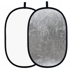 Blenda 2w1 biało-srebrna, owalna