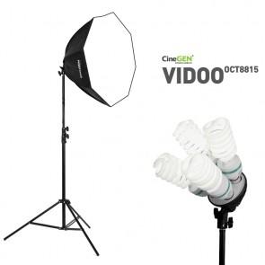 Lampa typu SOFTBOX octa 80cm, 4 żarówki 85W, statyw 300cm