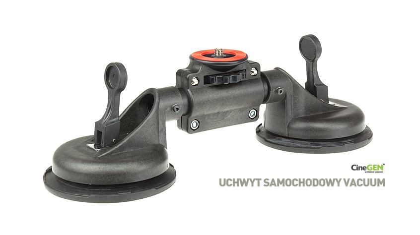 """podwójny,podciśnieniowy uchwyt samochodowy z śrubą montażową 1/4"""" do montażu kamer i lustrzanek o masie do 5kg"""